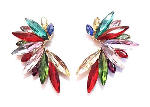 Pendientes Cristales Colores Mujer Pendientes Fiesta Boda Medio Aro, Chapado Oro Multicolor