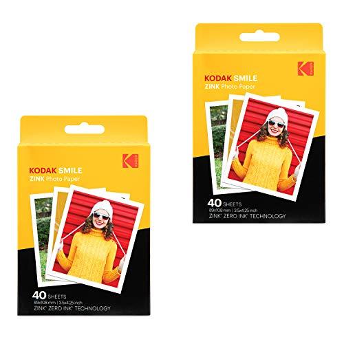 Kodak Papel fotográfico Zink de impresión instantánea premium (80 hojas) compatible con Kodak Smile Classic Instant Camera