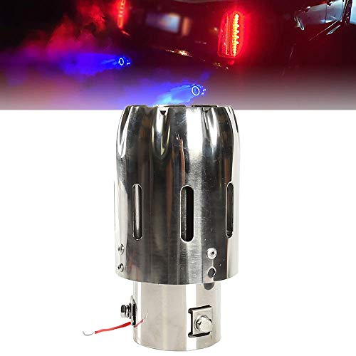 63mm Exhaust Tips Stainless Steel Muffler Car Exhaust Tail Pipe Modification Luminous Tube With Blue Flame LED light