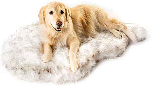 Luxury Faux Fur Orthopedic Dog Bed, Memory Foam Dog Bed​ for​ Small, Medium, Large and XL Pets, Fluffy Pup Rug with Waterproof ​and ​Washable Soft Cover, Bone White-El 123 * 72 * 5cm_Beige