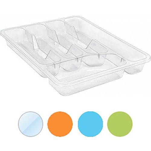 Porta posate in plastica di alta qualità, vassoio portaoggetti organizer cassetto rack, plastica, Transparent / Yellow S, 33x26x5cm