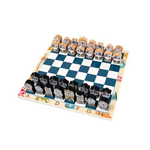 Juego de ajedrez Ajedrez de la historieta de madera maciza de tablero de ajedrez Tres regalos de juguetes de dimensiones for el ajedrez de los amantes y los alumnos Juego de mesa de ajedrez de viaje