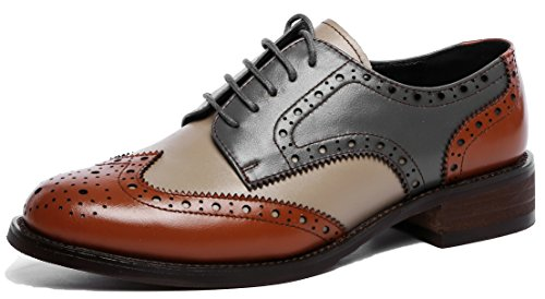 U-lite Women's Perforated Lace-up Wingtip Leather Flat Oxfords Vintage Oxford Shoes Brogues (7.5, Brownblue)