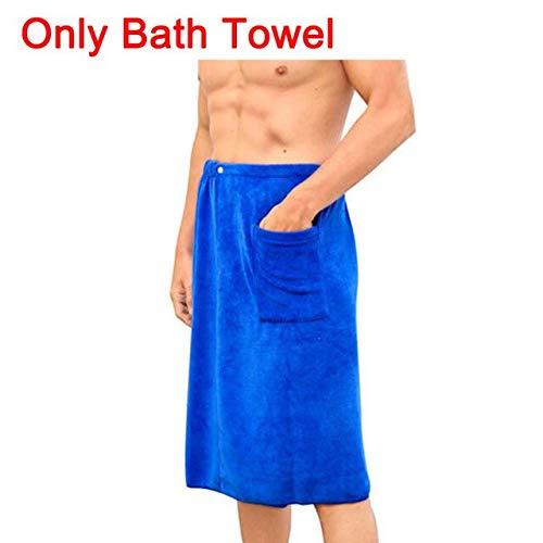 Heliansheng 2 Bolsillos de Toalla de baño mágicos portátiles para Hombre, Traje de Falda de Ducha y Toalla Deportiva, Toalla de baño Azul, 70x140cm