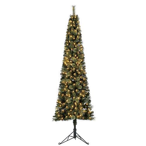 Home Heritage Cashmere 7 Foot Artificial Corner Christmas Tree with Warm Whiter LED Lights and Stand