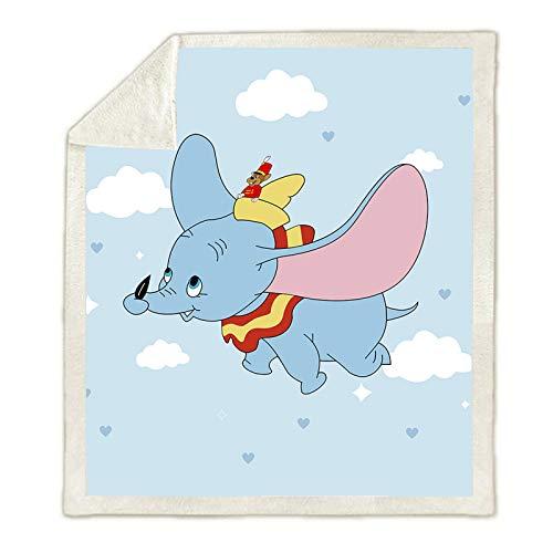Hutuda Disney Dumbo - Manta de franela, dibujo animado con impresión 3D, para el campamento o el tránsito, para niños (08,150 x 200 cm)