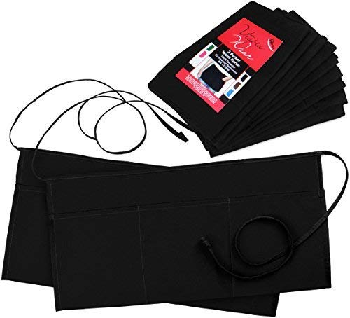 Utopia Wear 12 Pack 3 Pockets Waitress Apron Waist Aprons for Home and Kitchen 24 x 12 Inches Black