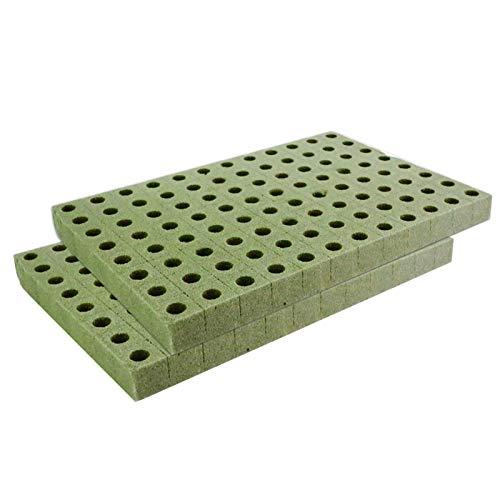 96 Gitter Soilless Anzucht Starter Pflanzwürfel, Steinwolle Grow Cubes Starter Blätter für Stecklinge, Klonen, Pflanzenvermehrung, für kräftiges Pflanzenwachstum, 2 Stück