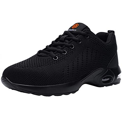 FENLERN Steel Toe Shoes for Women Lightweight Air Cushion Safety Sneakers Slip Resistant Work Shoes Breathable Safety Toe Tennis Shoes Indestructible Shoe (7.5, Black)
