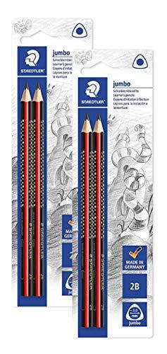 Staedtler 1285 1BK2 Noris Club Jumbo Schreiblernstift, Härtegrad 2B, Blisterkarte mit 2 Stück (2 Packungen / Härtegrad 2B)