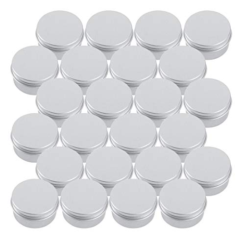 Tosnail 24 Pack 1 oz. Aluminum Round Tins Storage Container with Screw Thread Lid