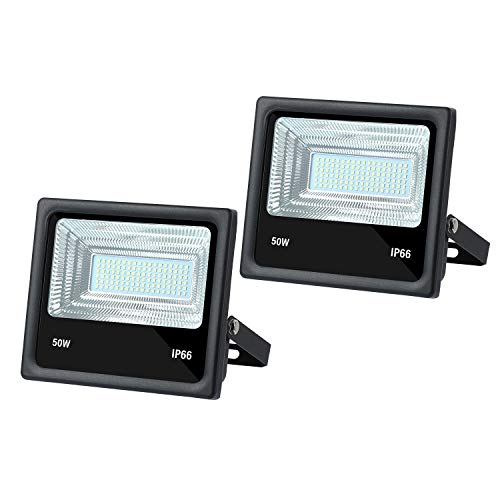 2 PCS DC 12V LED Flood Light 50W 4500lm 3000K Warm White Outdoor Security Floodlight Lamp, IP65 Outside Waterproof