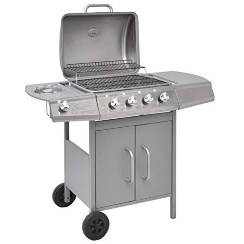 VidaXL Griglia Barbecue A Gas 4+1 Fornelli Argentato Giardino Acciaio Inox BBQ
