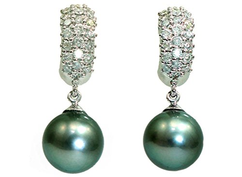 0.88ct perlas de Tahiti y del diamante pendientes de gota en 18 K oro blanco