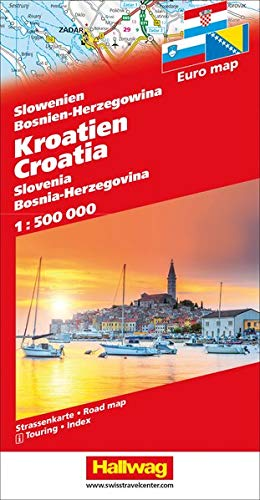 Kroatien / Slowenien / Bosnien-Herzegowina 1 : 500 000: Straßenkarte mit Index. (Road Map) (Hallwag Strassenkarten)