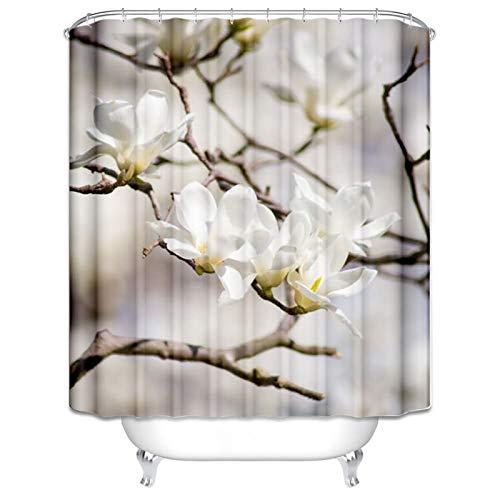 ANAZOZ Duschvorhang mit 12 Haken, Wasserdicht, Anti Schimmel, Umweltfre&lich Waschbar, 3D Wasserwürfel Duschvorhänge aus Polyester Pflaume Bad Vorhang für Badezimmer Badewanne Bunt 120X180Cm C4233