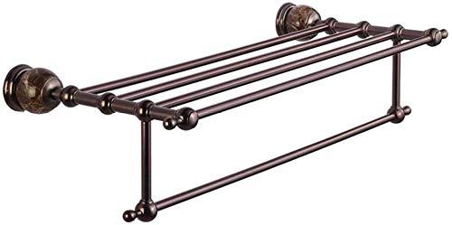 Toallero europeo antiguo de 2 niveles montado en la pared chapado en metal toallero barras de baño toallero de baño accesorios para cocinas de hotel y aseos 67 x 27 x 5 x 19 4 cm, color marrón bronce