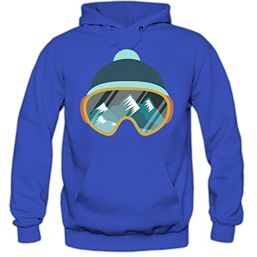 Shirt Happenz Ski Snowboard Hoodie Wintersport Hoodie Skifahren Kapuzenpullover, Farbe:Blau (Royalblue F421);Größe:S