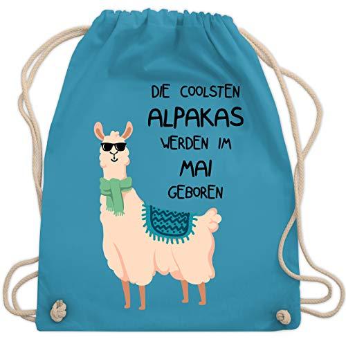 Shirtracer Geburtstagsgeschenk Geburtstag - Die coolsten Alpakas werden im Mai geboren Sonnenbrille - Unisize - Hellblau - rucksack cool - WM110 - Turnbeutel und Stoffbeutel aus Baumwolle