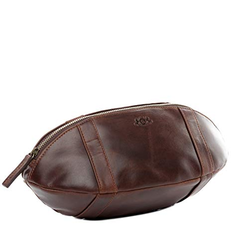 SID & VAIN Kulturtasche American Football echt Leder Isaac Kulturbeutel Necessaire Lederbeutel Herren braun