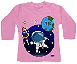 Hariz - Camiseta de manga larga para bebé, diseño de astronauta en el espacio del globo astronauta y luna, color rosa