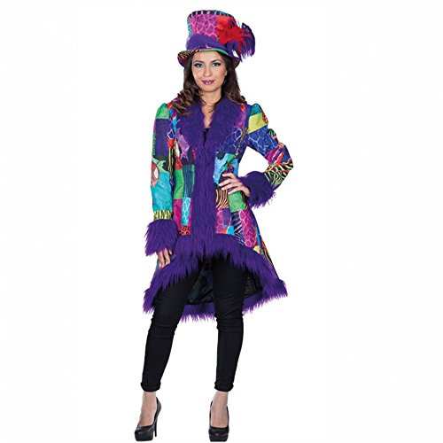 Damen Patchwork Mantel Gr. 46 bunt/lila Fasching Jacke Karneval Gardekostüm