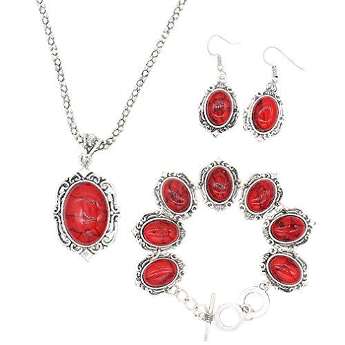 YAZILIND Vintage Grano Ovalado Turquesa Colgante Pendientes Collar Pulsera joyería Conjuntos Mujeres Rojo