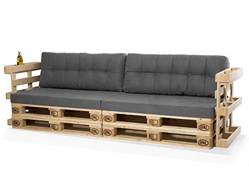 PALETTI Europaletten-Sofa, 3-Sitzer, mit Armlehnen, Fichte massiv, Natur