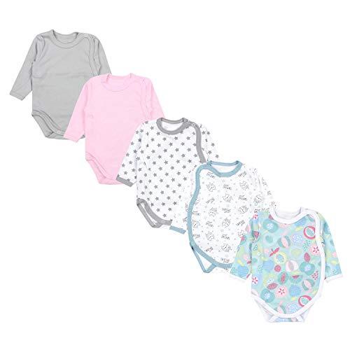 TupTam Baby Unisex Langarm Wickelbody Print / Uni 5er Pack, Farbe: Mädchen 4, Größe: 56