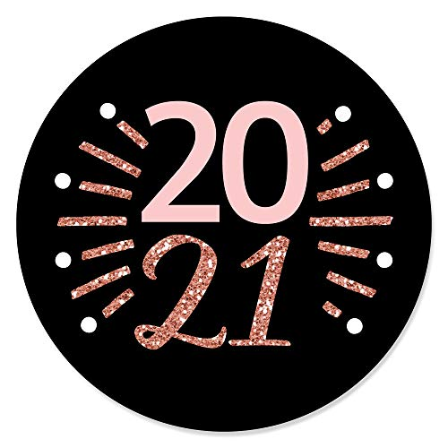 Big Dot of Happiness Rose Gold Happy New Year - 2021 New Year's Eve Party Circle Sticker Labels - 24 Count
