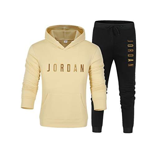 EBDC Jordanien Trainingsanzug für Männer, Retro Basketball Hoodie & Hose Set Casual 2-teilig Set Neutral Lose Sweatshirt 11-M