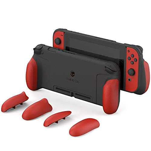 Skull & Co. GripCase: A Dockable Protective Case with Replaceable Grips [to fit All Hands Sizes] for Nintendo Switch [No Carrying Case] - Mario Red