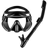 ACRIAL Snorkel Set, Silicone Snorkeling Mask Set for Adults and Youth, Safe Breathing, Anti-Leak Anti-Fog Adjustable Diving, Mask Gear Mesh Bag for Snorkeling, Diving, Swimming Black