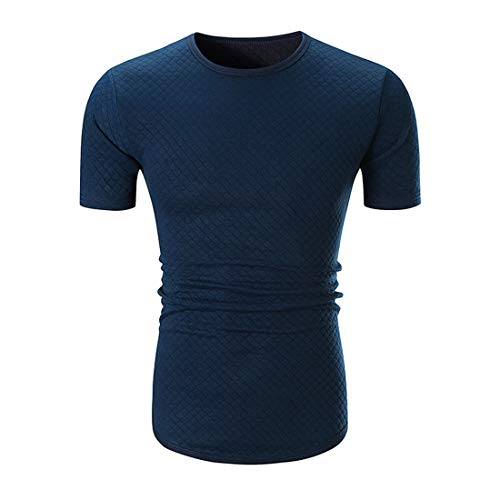 Deportiva Camisa Hombre Verano Moda Cuadros Hombre Funcional Shirt Básica Cuello Redondo Manga Corta Casuales Camisa Color Sólido Ajustada Jogging Escalada Shirt D-Blue XL