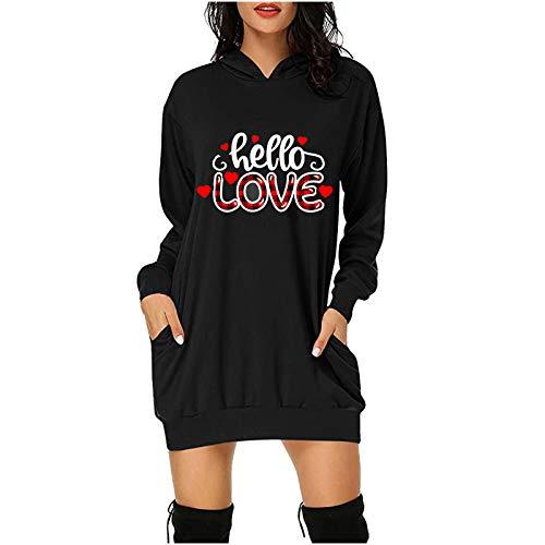 Vestido de verano para mujer, de moda, para el día de San Valentín, con capucha, bolsillos cortos, para el día de Pascua