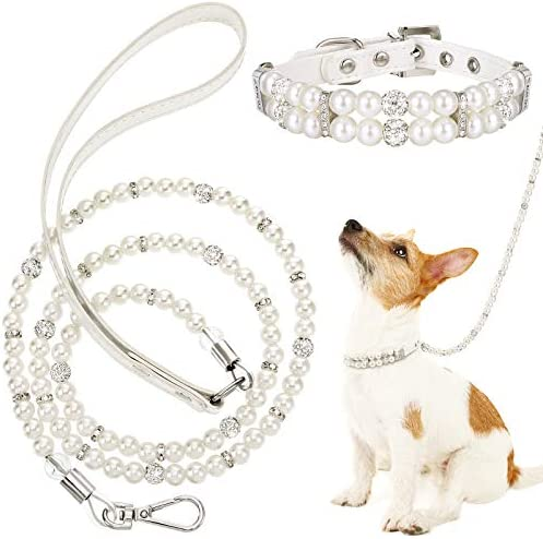 Weewooday 2 Pieces Dog Cat Imitated Pearl Collars Leash Set 2 Rows Imitated Pearl Rhinestone product image