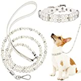 Weewooday 2 Pieces Dog Cat Imitated Pearl Collars Leash Set, 2 Rows Imitated Pearl Rhinestone Collar and 4 ft Stainless Steel Wire Imitated Pearl Pet Leash for Small Pet Animals
