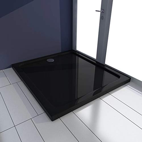 FAMIROSA Plato de Ducha Rectangular ABS Negro 80x90 cm