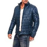 BIKETAFUWY Piumino da uomo, giacca leggera per l'inverno, foderata, con colletto alto, giacca per le mezze stagioni, tinta unita, calda cappotto invernale, Blu scuro, M