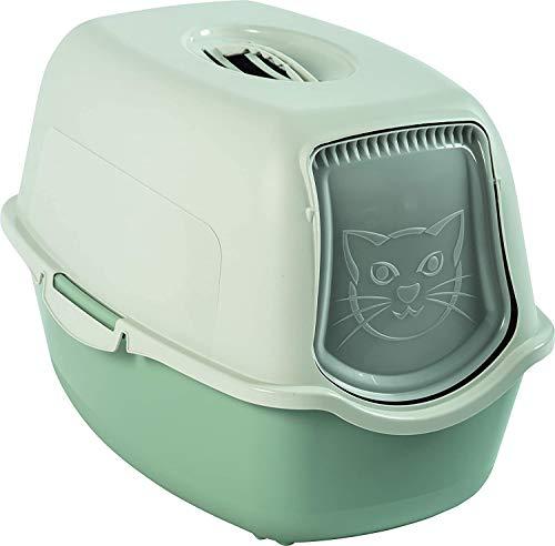 Rotho, Bailey, Cassetta per rifiuti con cappuccio e sportello, Plastica (PP) senza BPA, salvia/bianco, (56,0 x 40,0 x 39,0 cm)
