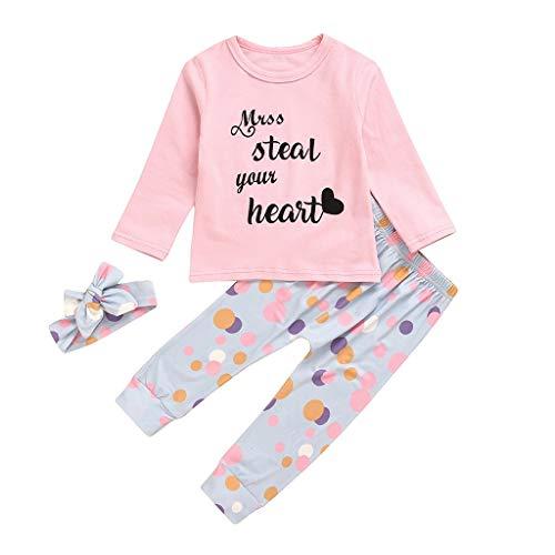 Moneycom❤Nouveau-né bébé Fille à Manches Longues Lettre T-Shirt Tops + Pantalon Fleur + Bandeau Tenue Rose(18-24 Mois)