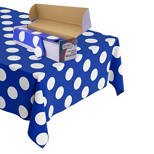 Polka Dot Plastic Tablecloth Roll - Durable Plastic Table Cover Roll | Indoor/Outdoor | 52 Inch X 100 Feet | Water Resistant Tablecover | Disposable Table Cloth with Easy to Use Safe Cutter - Blue