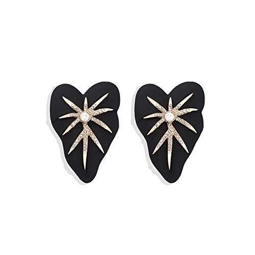 LPZW All Black Color Metal Crystal Acrylic Drop Earrings Lady Girls Handmade Party Statement Jewelry Accessories A568 (Metal Color : 1)