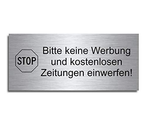 """Echtes Edelstahl Türschild Briefkasten-Schild   Größe: 8x3,5 cm"""" Bitte keine Werbung oder kostenlose Zeitungen""""   selbstklebend (M4)"""