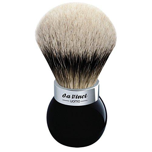 da Vinci Shaving Series 290S UOMO Silvertip Shaving Brush, Badger Hair with Black Globe Handle and Shower Holder, 25mm, 75 Gram