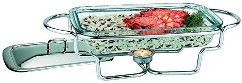 APS 65034 Servierschale mit Stövchen 29,5 x 18cm, H: 12cm Stövchen Metall verchromt, Glasschale, 1,5 Liter, Deckel Edelstahl poliert