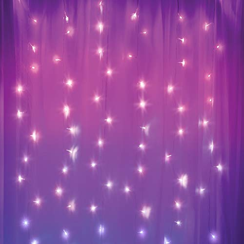 Merkury Innovations Curtain Lights, Cascading Battery-Operated LED Lighted Backdrop Curtain for Bedroom, Wedding, Decoration, or Christmas (Purple Ombre)