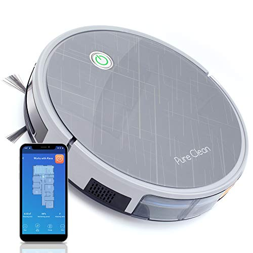 "Pure Clean Robotic Vacuum Cleaner - 2000Pa Suction - Wifi Mobile App and Gyroscope Mapping - Ultra Thin 3.0"" Height - Rotating Squeegee Cleans Hard Dirt PUCRC660, Grey Dining Features Home Kitchen Robotic Vacuums"