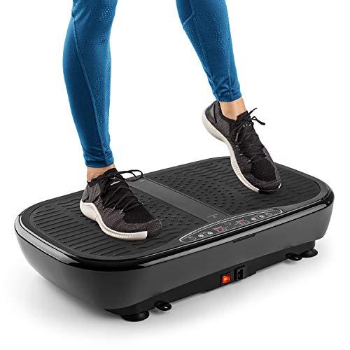 Klarfit Vibe 3DX Pro trilplaat, professionele vibratietrainer voor het hele lichaam, vermogen: 2 x 200 watt, MaxComfort training: 71,5 x 36 cm trainingsoppervlak, 60 snelheden, incl. eBook, 2 trainingsbanden