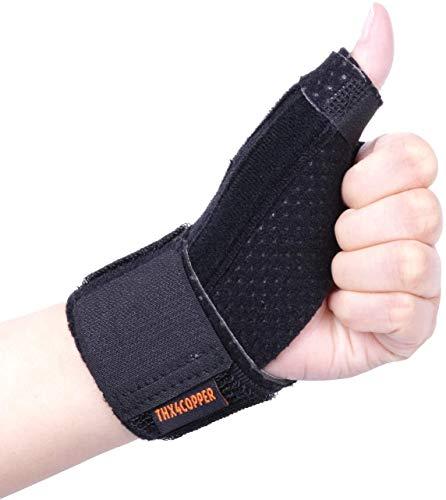Thx4COPPER Kompression Reversible Daumen Bandage& Daumensattelgelenk,Daumenschiene,Daumenorthese für BlackBerry Daumen, Arthritis,Triggerfinger,Sehnenentzündung,Atmungsaktiv, Stabil Daumenstütze-L/XL